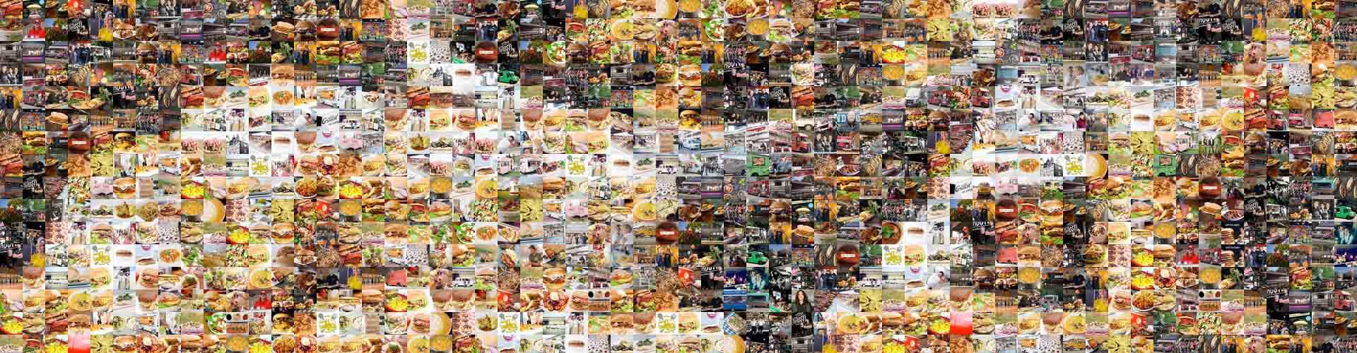 Catering-Szene dargestellt mit einer Collage aus vielen Foodtruck-Impressionen
